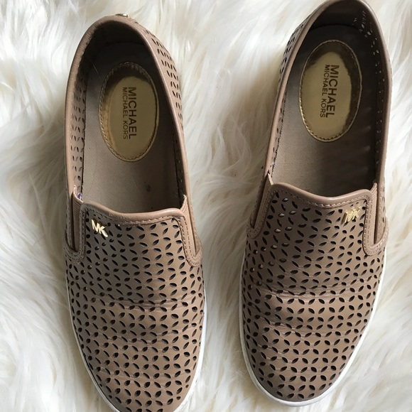 Camel Leather Slip On Sneakers Michael